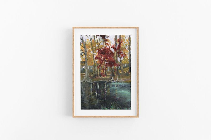 "15 / 18    ""Brilliant Autumn River"" Landscape Original"