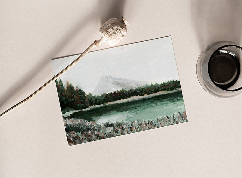 """Emerald Green Lake"" Horizontal Landscape"