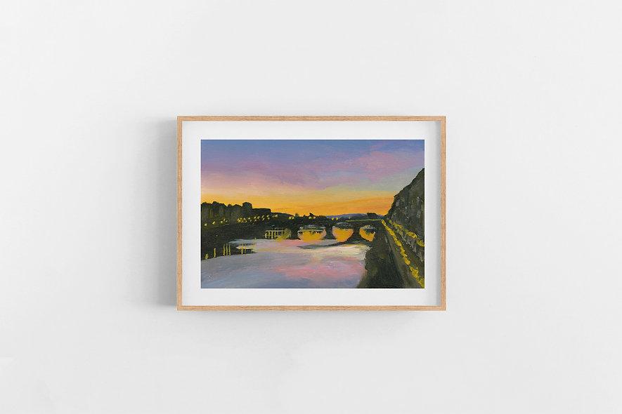 "14 / 18     ""Sunset Over the City"" Landscape Original"