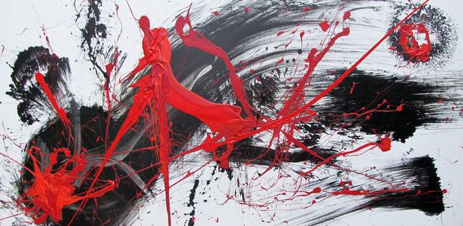 Abstrakt in Schwarz und Rot