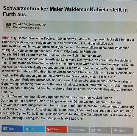 Schwarzenbrucker Maler Waldemar Kobiela stellt in Fürth aus