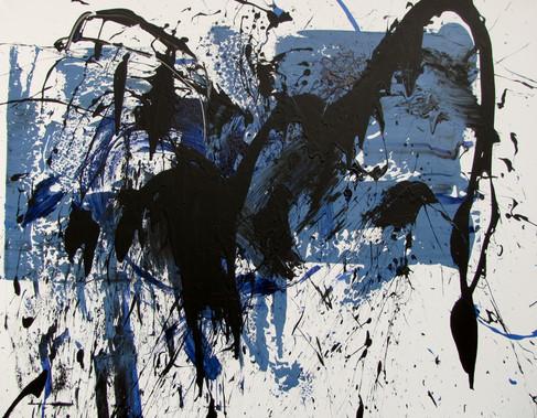Komposition mit Blau und Schwarz