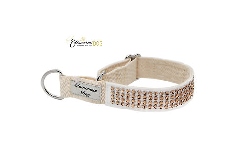 Collar decorated with strass stones - beige