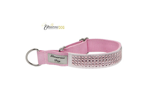 Collar decorated with strass stones - light pink