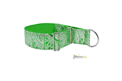 Adjustable collar green brocade with the possibility of a leash