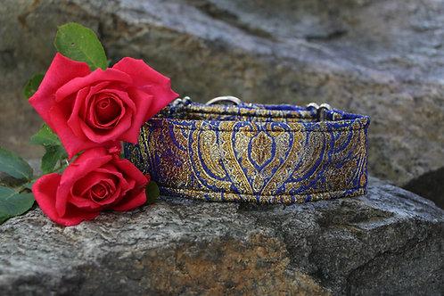 Brocade collar - blue & gold