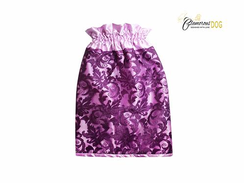 Ušanka látková zdobená krajkou - fialová