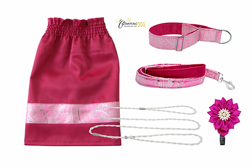 Set for puppy - pink brocade
