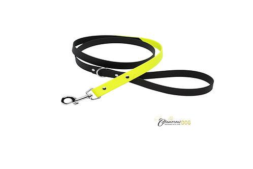 Black-neon yellow leash from BioThane strap