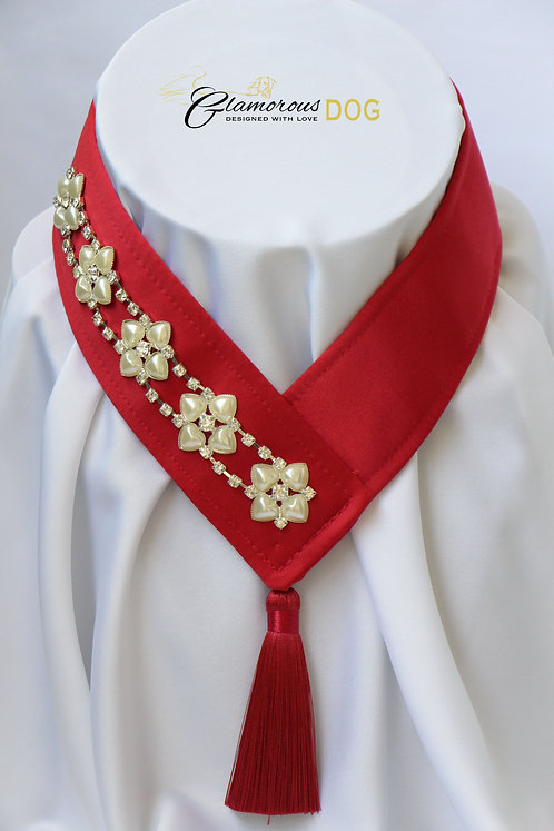 Collar for finals - red with chain