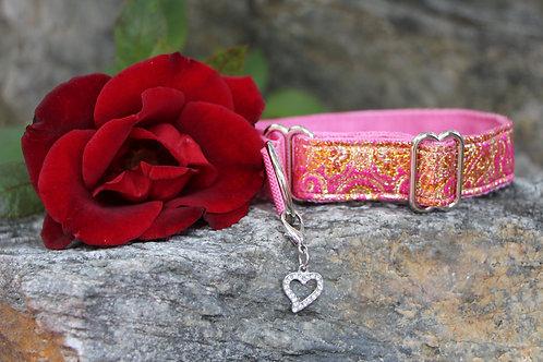 Small pink & gold brocade collar