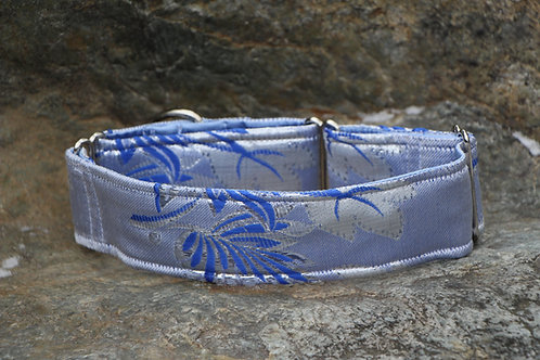 Brocade collar - blue & silver