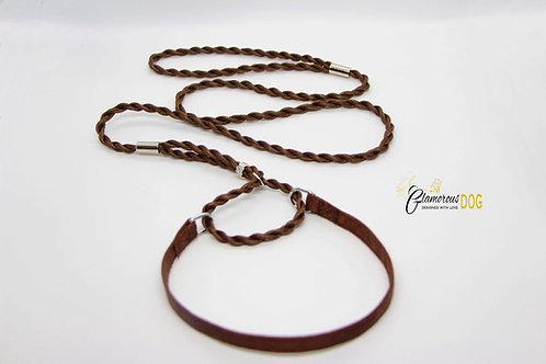 Exhibition leash with collar - brown