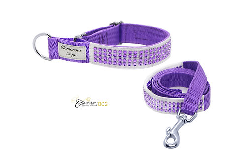 Collar decorated with strass stones - purple