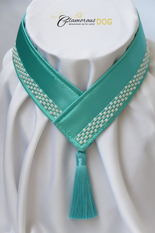 Collar for finals - green-blue with pearls
