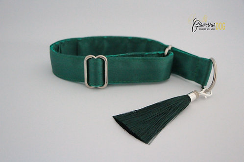 Dark green collar with tassel