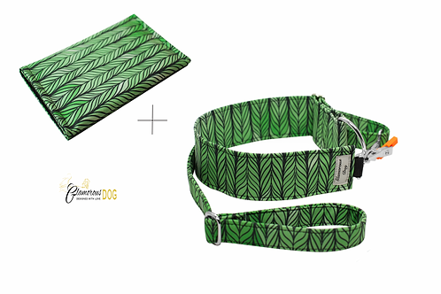 Releasing set with document case - green pattern