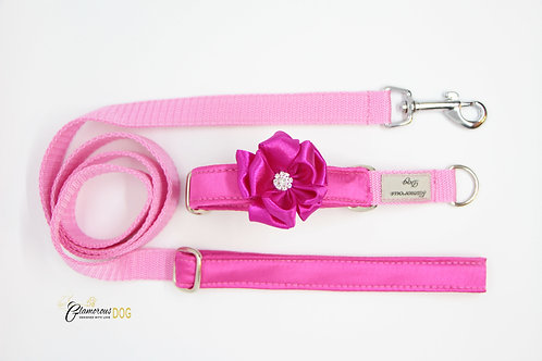 Small pink collar with flower