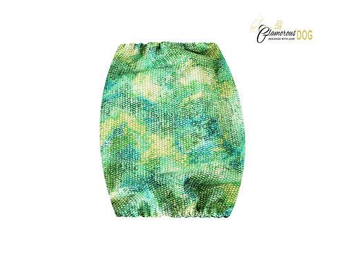 Fabric snood - snake pattern green