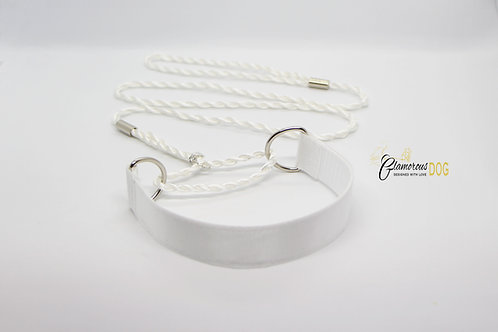 Exhibition leash with collar - white
