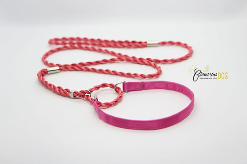 Exhibition leash with collar - pink