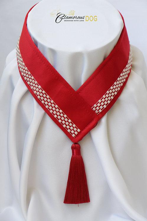 Límeček červený s perličkami