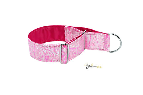 Adjustable collar pink brocade with the possibility of a leash