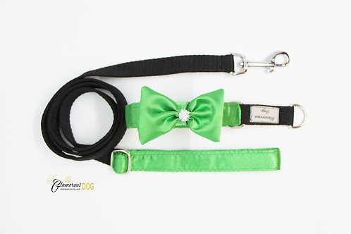 Small green collar with bow tie