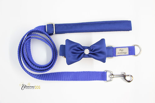 Small blue collar with bow tie