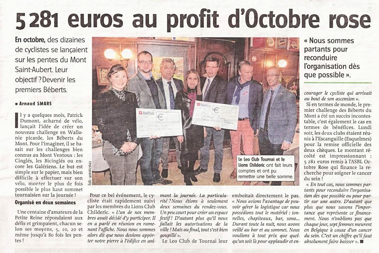 5 281 EUROS AU PROFIT D'OCTOBRE ROSE