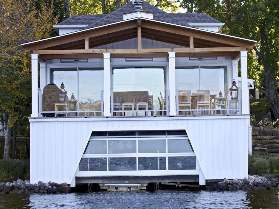 Cedo porte de garage panoramique blanc bateau