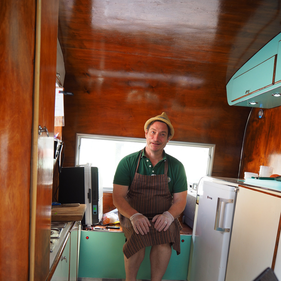 Patrick Harlan, inside The Cure Food Truck