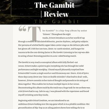 The Gambit Review - Sochmore Blog