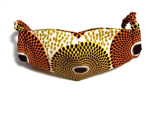 Brown Circles Ankara Face Mask