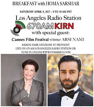 Arsi Nami guest on Radio 670 am Los Angeles - KIRN with Homa Sarshar