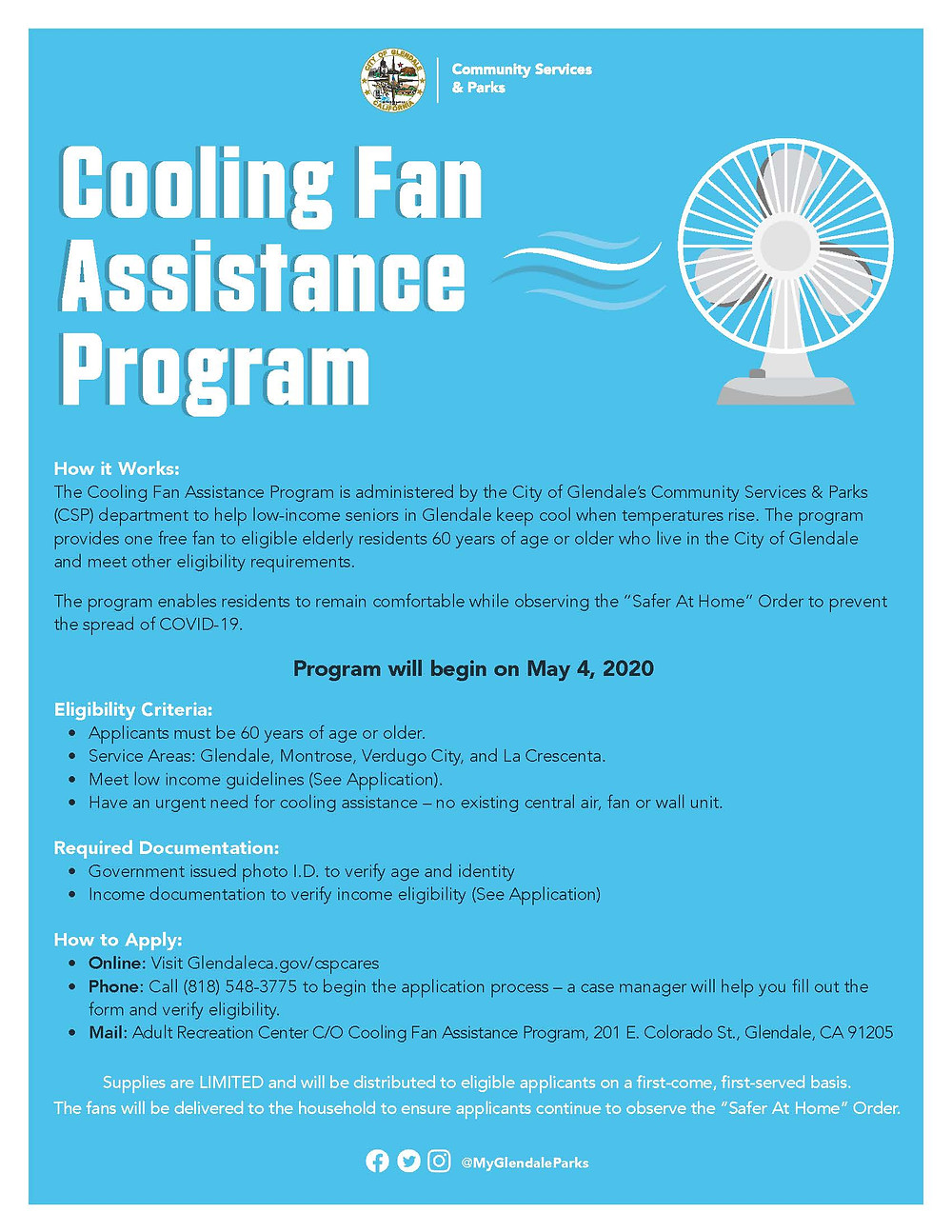 Cooling Fan Assistance Program Flyer; outline show to apply, required documents, and eligibility requirements