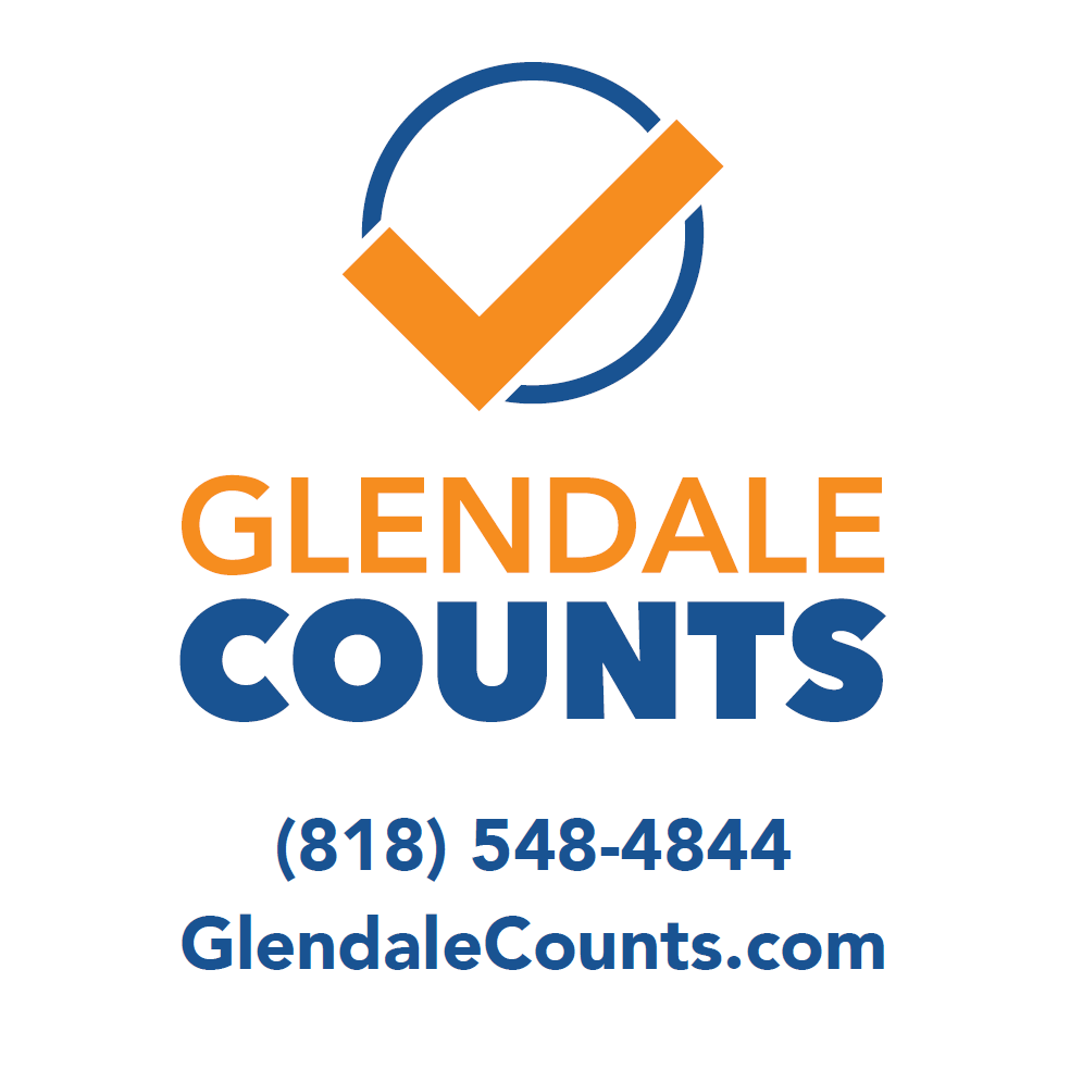 Glendale CountsLogo with phone number to call - 818.548.4844 and website to visit GlendaleCounts.com