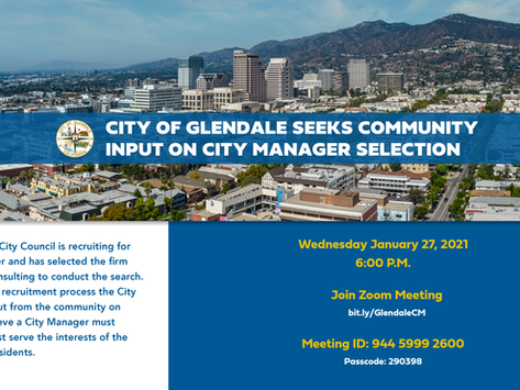 City of Glendale Seeks Community Input for City Manager Selection