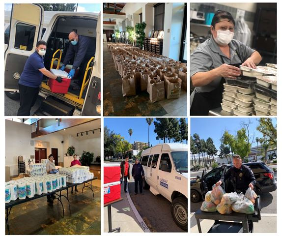 Collage (6 pictures) of CSP staff and GPD delivering and preparing meals