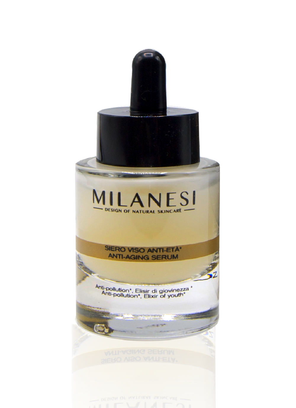 The montenapoleone anti-aging serum contains a precious ingredient: gold known for its anti-aging properties.