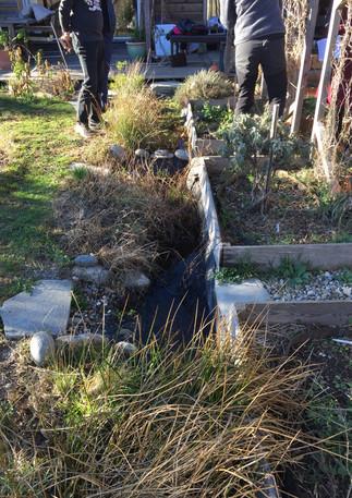 """petit """"cours""""d'eau en lisière du jardin"""