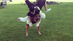 Performing at Bolsover Castle, 17th C dancing!