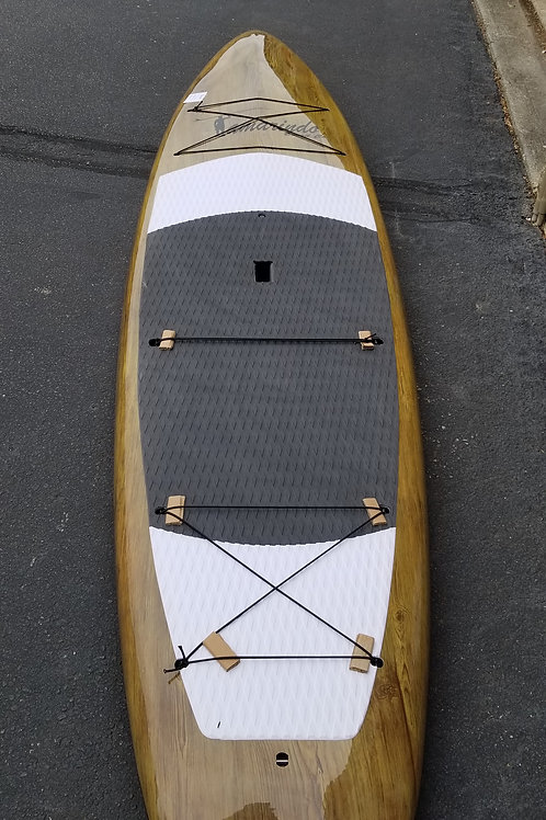 """11'6"""" Touring Dark Wood Polymer Shell Sup with Gray/White pad"""