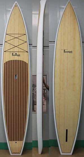 """12'6"""" Race board - Bamboo/white"""