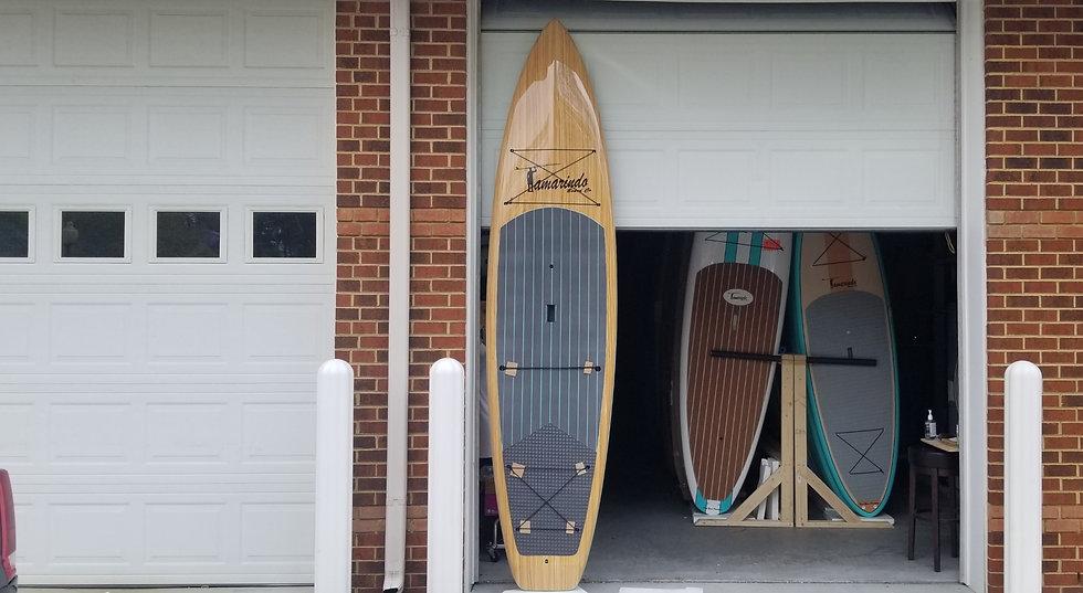 "11'6"" Touring Teak Wood Polymer Shell Sup with Aqua/Gray striped pad"