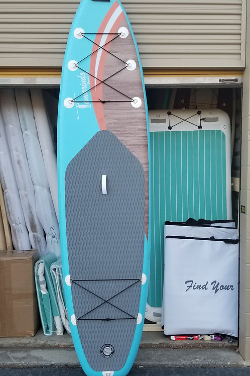 inflatable SUP (blue/wood)
