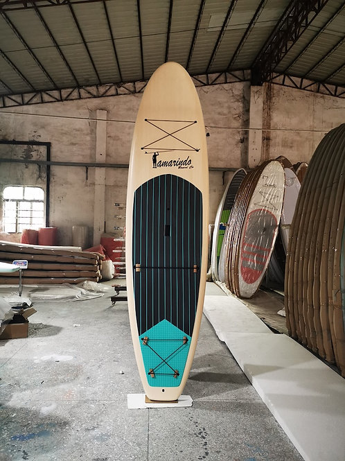 """10'6"""" Light wood Polymer Shell SUP with Turquoise Stripe Deck Pad"""