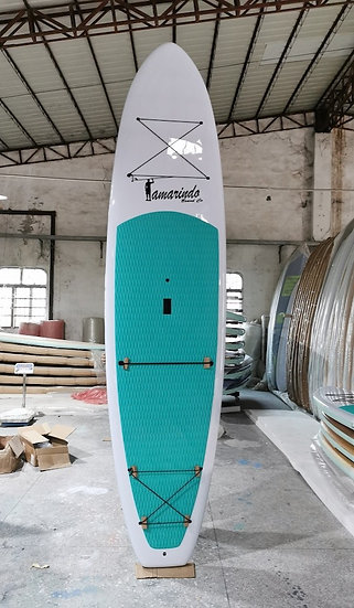 """10'6"""" White Polymer Shell SUP with Aqua or Blue Deck Pad"""