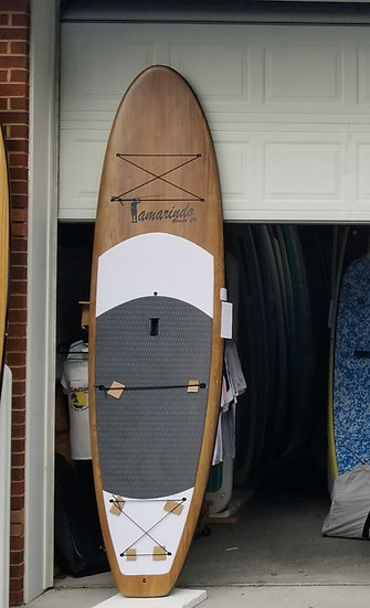 """11'6"""" Dark Wood Polymer Shell SUP with gray/white Deck Pad"""