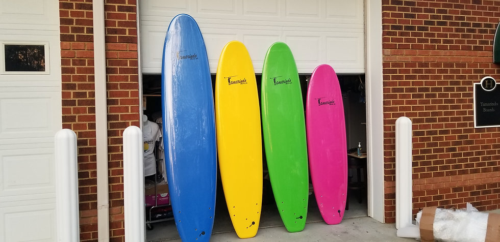Soft top surf board 7', 8', 9' with plug fins